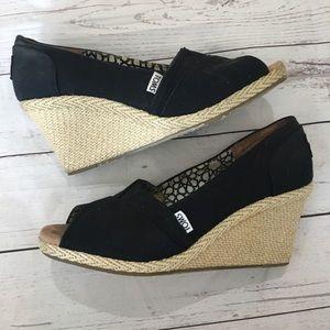 TOMS Black Canvas Espadrille Wedge Sandals